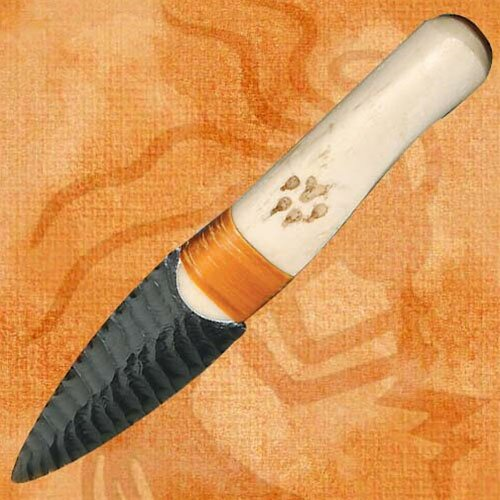 Buffalo Rib Obsidian Blade Knife
