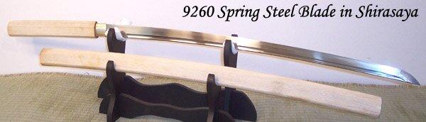 Cheness 9260 Silicon Alloy Spring Steel Katana Blade w Bohi in Shirasaya