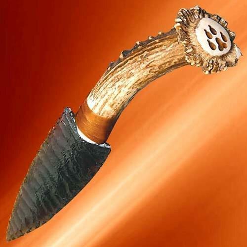 Deer Antler Obsidian Blade Knife