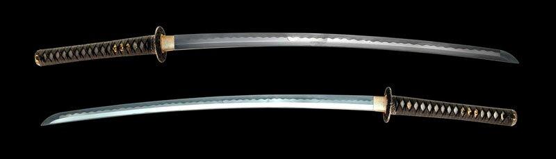 Dynasty Forge 28`` Daimyo F/F Tri-Steel Katana in Turbulent Wave Theme