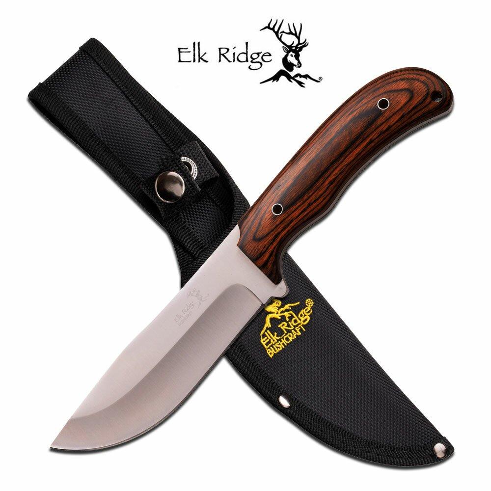 Elk Ridge Fixed Blade Knife Bushcraft Pakkawood 10.5'' Overall