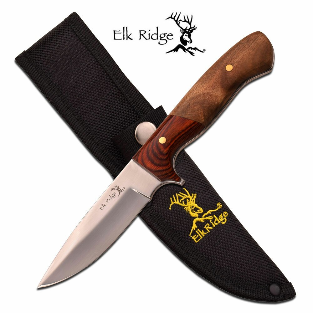 Elk Ridge Fixed Blade Knife Pakkawood Burl Polished Blade 8.5'' Overall