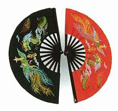 Red Kung Fu Fan - Dragon and Phoenix Red