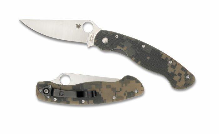 Spyderco Military Camo Plain Edge Folding Knife
